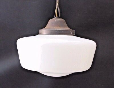 School House Ceiling Hanging Pendant Light Fixture Globe Milk Glass Large Vtg