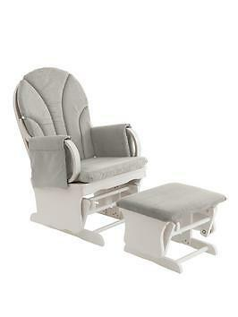Ladybird Gliding Nursing Chair with Footstool - White/grey RRP £159.99