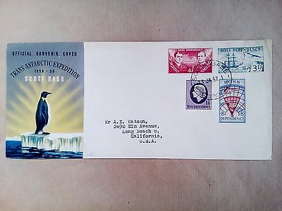 New Zealand Scott Base Ross Dependency  11.1.1957 Stamps Cover To U.s.a.