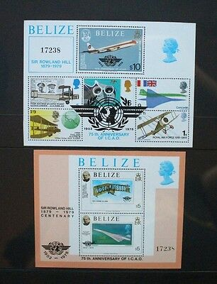 BELIZE 1979 Rowland Hill Aircraft. 2 SOUVENIR SHEETS Mint Never Hinged. SGMS513.