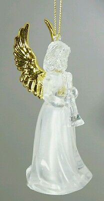 """Gold ANGEL Light Up Acrylic Ornament 4.5"""" Clear White LED Christmas Gift"""