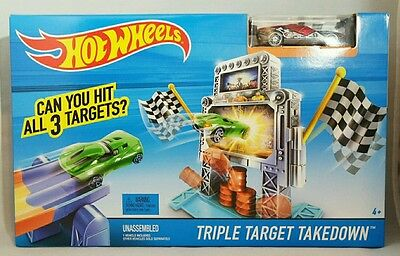 HOT WHEELS Triple Target Takedown Track Play Set Red Race Car Toy Boys 4+ Gift