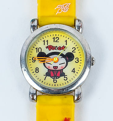 Yellow Pucca Wrist-Watch with character strap- Japanese Anime Character Watch