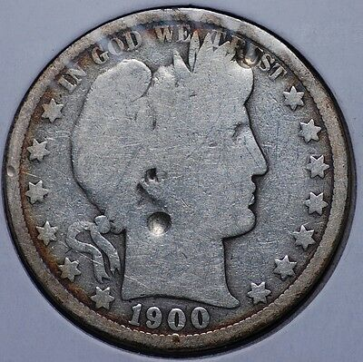 1900 O Barber Half Dollar Good Details Cleaned With A Couple Of Dents