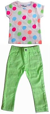 Girl's 2-3 Yrs Mint Pink Blue T-Shirt / Mint Green Chinos Set (Primark)