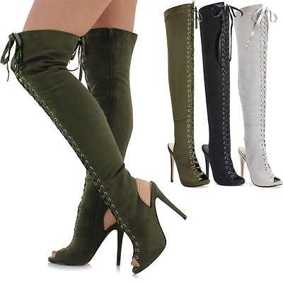 Ladies Womens Long Tall Suede Thigh High Lace Up Over The Knee Peep Toe Boots