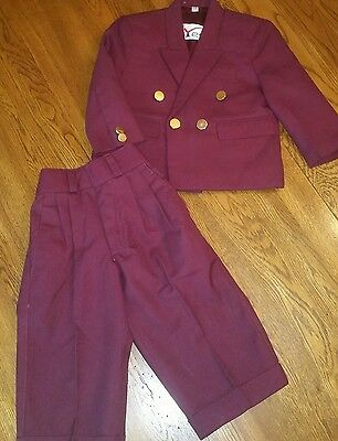 Vintage Suit Maroon Gold Buttons Boy's Size 14 mo