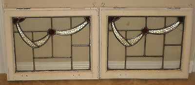 Pair of Stained Leaded Glass Windows - Houston pick up only