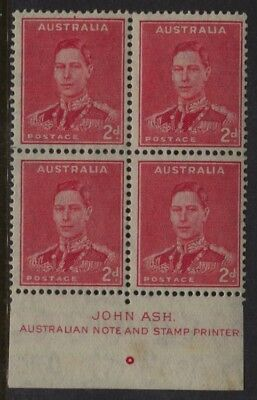 Australia SG #184 - 2d P15x14 MNH John Ash Margin Imprint Block of 4