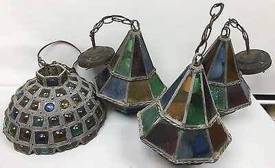 Beautiful Set of 4 Antique Stained Glass Lamps