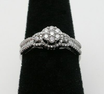 White Gold Ring w/ Round & Baguette Diamond Cluster