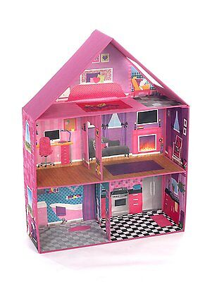 Modern Pink Barbie Dream House Home Play Room Set Girls Miniature Toy Doll House