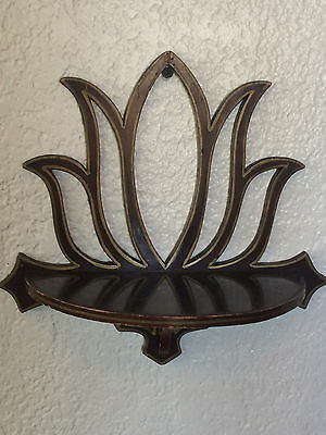 Old Vintage Mahogany Unusual Art Deco Wall Shelf Lotus Flower