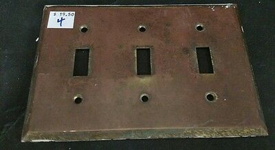 Vintage Heavy Duty Brass 3 Light Switch Cover
