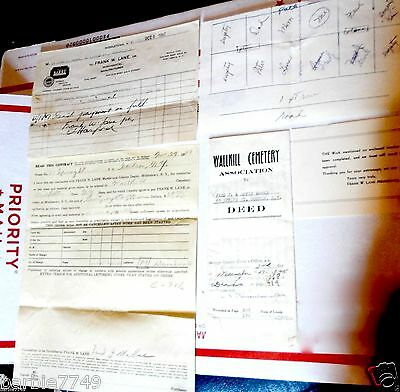 Vintage Cemetery Deed & Receipts Documents + 1947
