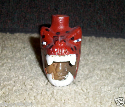 Red Whistle with the sound of Snarling of Jaguar Mexican art Handmade work, clay