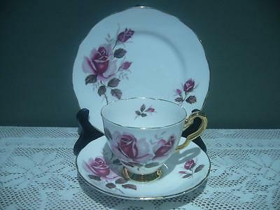 Royal Stafford England Lovely Vintage Floral Gilt Trio - Pink Roses - Good Cond