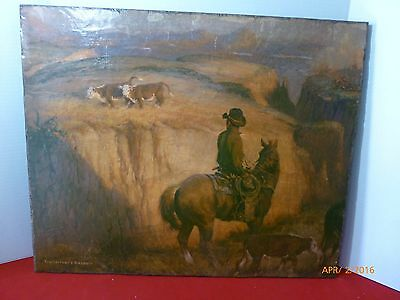 Vintage Western Art Cowboy Cattle Horse Tom Ryan Trail Drive