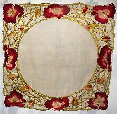 VTG Arts & Crafts Linen Table Square Runner OUTSTANDING Silk Embroidery Poppies