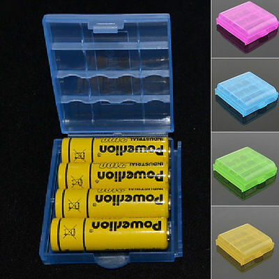 10 X Battery Case Plastic Transparent Colorful AA/AAA Storage Box Case Container