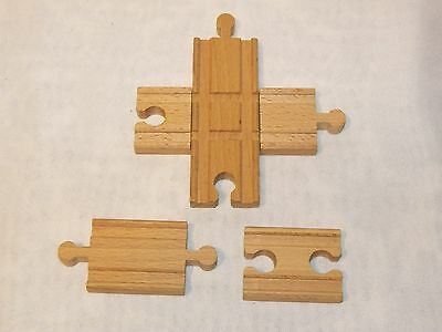Set Of 3 Thomas Compatible Wood Wooden Train Cross Tracks & Open & Closed End