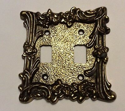 Vintage Mid Century Antique Gold Double Light Switch Plate Cover