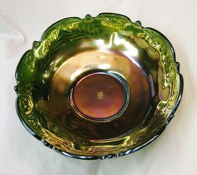 """Cambridge Green Carnival Glass 10.5"""" Icecream Shaped Bowl """"INVERTED THISTLE"""""""