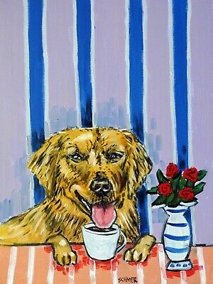 golden retriever at the cafe coffee shop signed dog art print 4x6