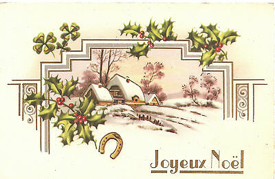 Country Cottage & Holly Snow Scene Antique Vintage French Christmas Postcard