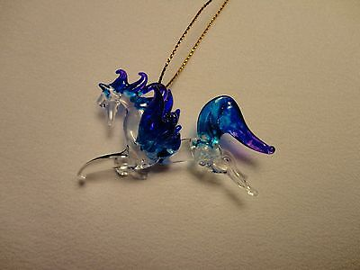 Hanging Pegasus Blue Purple Clear Figurine of Blown Glass Crystal