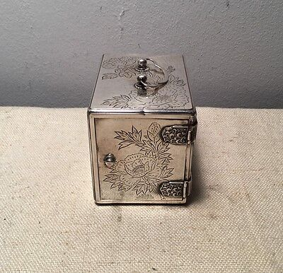 Japanese Antique 950 Sterling Silver Rare 3 Drawer Jewelry Floral Box