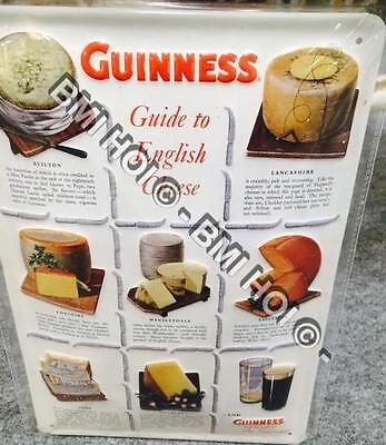 "Guinness Guide to English Cheese on Metal sign 12"" x 8"" - stilton lancashire etc"