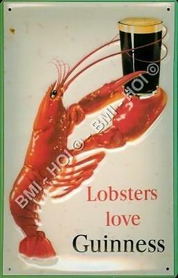 "Lobster's love Guinness Large Metal Sign 12"" x 8"" inches - old advert by Gilroy"