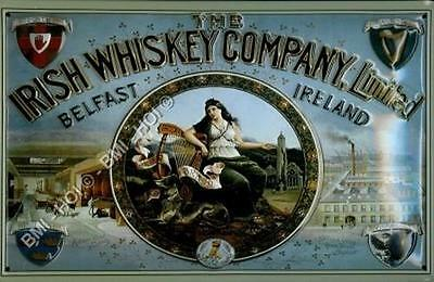 "The Irish Whiskey Company Old Poster Advert Metal Large Sign 12"" x 8"" inches"