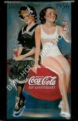 "Coca Cola 50th Anniversary Metal Advert Bathing Beauties 12"" x 8"" inches"