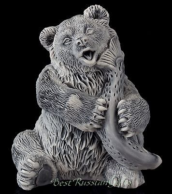 Bear with Large Fish Marble Sculpture Russian Art Animal Figurine Stone Statue