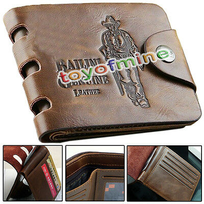 Fashion Cowboy Men's Leather Bifold Wallet Credit/ID Card Holder Slim Coin Purse