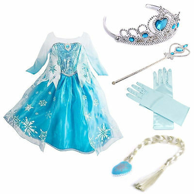 Elsa Frozen Costume Disney Princess Girls Child Fancy Outfit Long Dress+4pieces