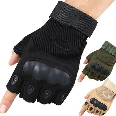 Tactical Half Finger Armoured Gloves Military Paintball Airsoft Shooting Working