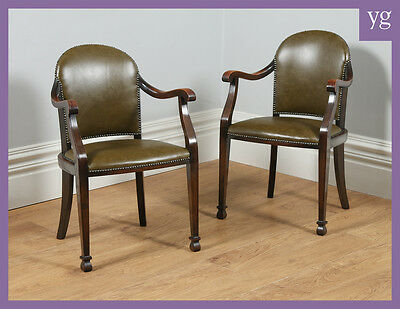 Antique Pair of Beech & Green Leather Office Desk / Elbow / Library Armchairs