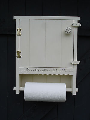 Kitchen Roll Holder/Cupboard, wall mounted, Shabby Chic, Hand made,decorated