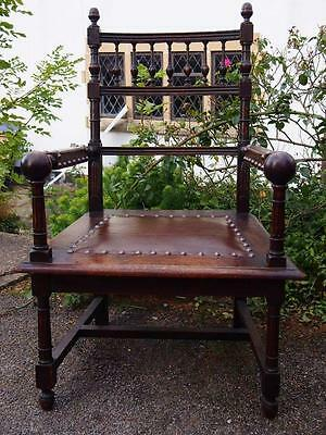 Stunning Antique Victorian Impressive Gothic Style Studded Leather Feature Chair