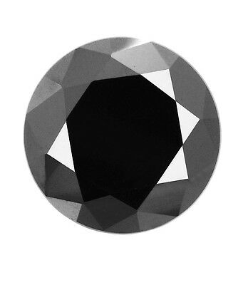 Black Diamond Solitaire Loose Round Brilliant Cut 4.05 Earth mined.CERTIFIED