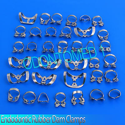45 Endodontic Rubber Dam Clamps, Dental Instruments, Stainless Steel