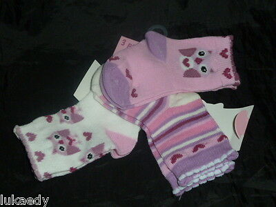 LOT CHAUSSETTE BEBE FILLE 6 - 12 mois rose POINTURE 15 - 18 NEUF COTON HIBOU