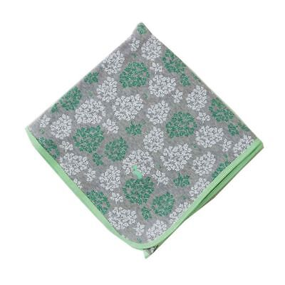 Little Turtle Baby Stretch Cotton Jersey Wrap (Grey with Mint & White Leaves)