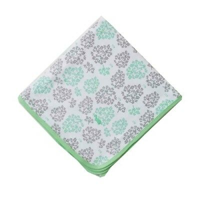 Little Turtle Baby Stretch Cotton Jersey Wrap (White with Mint & Grey Leaves)