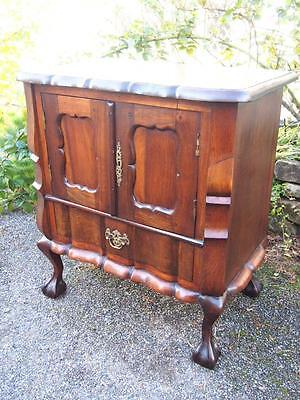 Unusual Continental Antique Solid Mahogany Dainty Cupboard with Ball & Claw Feet