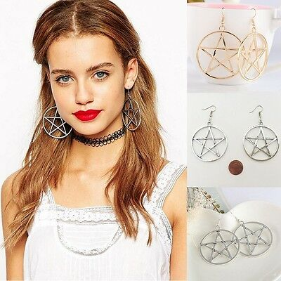 Fashion Punk Rock Round Pentagram Star Earrings Hoop Goth Ear Hook Stud Hot V