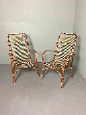 Retro Vintage Mid Century Bamboo Cane Wicker Conservatory Armchairs